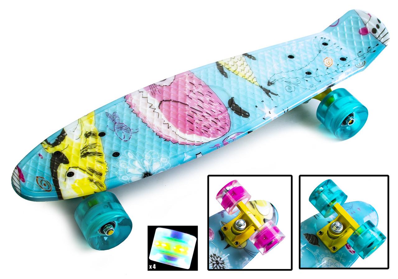 """Скейт Penny Board """"Cool Cat"""" Светящиеся колеса"""