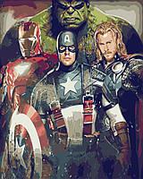 Картины по Номерам 40x50 см. Супергерои Marvel