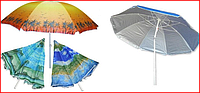 Пляжный зонт с серебряным напылением и  наклоном купола