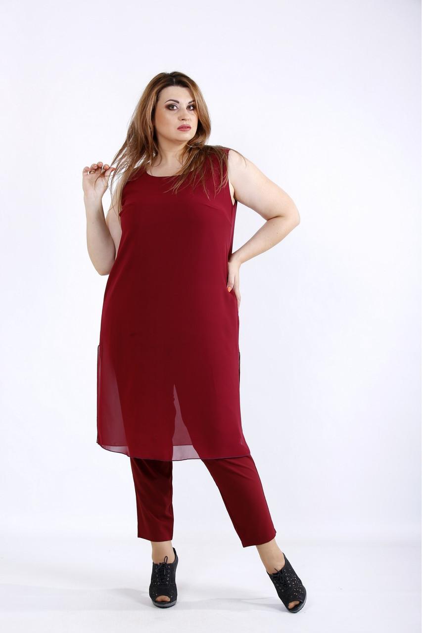 01227-2   Бордовий комплект: штани і туніка великий розмір