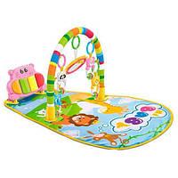 Коврик для младенца HE0612-HE0613 ,раз. 77-47см,дуга, подвески5шт,пианино,зв, св,бат, кор,46-28-8см