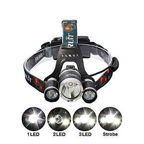 Мощный налобный LED фонарь BL 3000 T6, фото 2