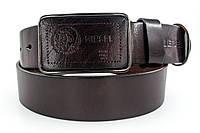 Темно коричневый мужской кожаный ремень в стиле Diesel (911225)