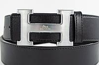 Стильный черный мужской кожаный ремень с красивой  пряжкой в стиле Hermes (11226)