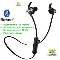 Беспроводные Sport Наушники. Вакуумные Bluetooth Наушники. Поддержка TF-card до 32 Gb.