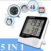 Метеостанція HTC-1 Годинник Будильник Гігрометр (вологомір), Термометр