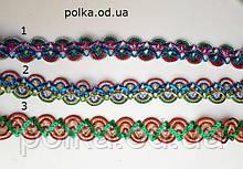 Цветная декоративная тесьма с пайетками металлизированная, ширина 2.8см (1 уп20 яр=18м)