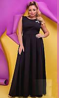 Платье летнее большого размера 880245-1 черное вечернее