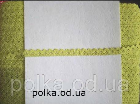 Вязаное кружево-ширина 1.5см, цвет ярко зеленый/  салатовый (1уп-200яр=184м)