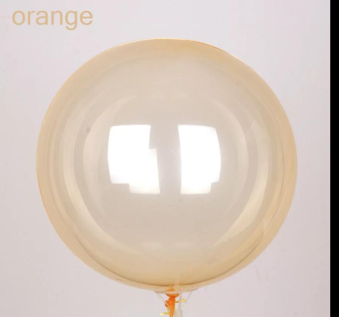 """Кулі повітряні прозорі bubbles (баблс) Помаранчевий 18""""/ 45см.Crystal Clearz Бульбашковий куля"""