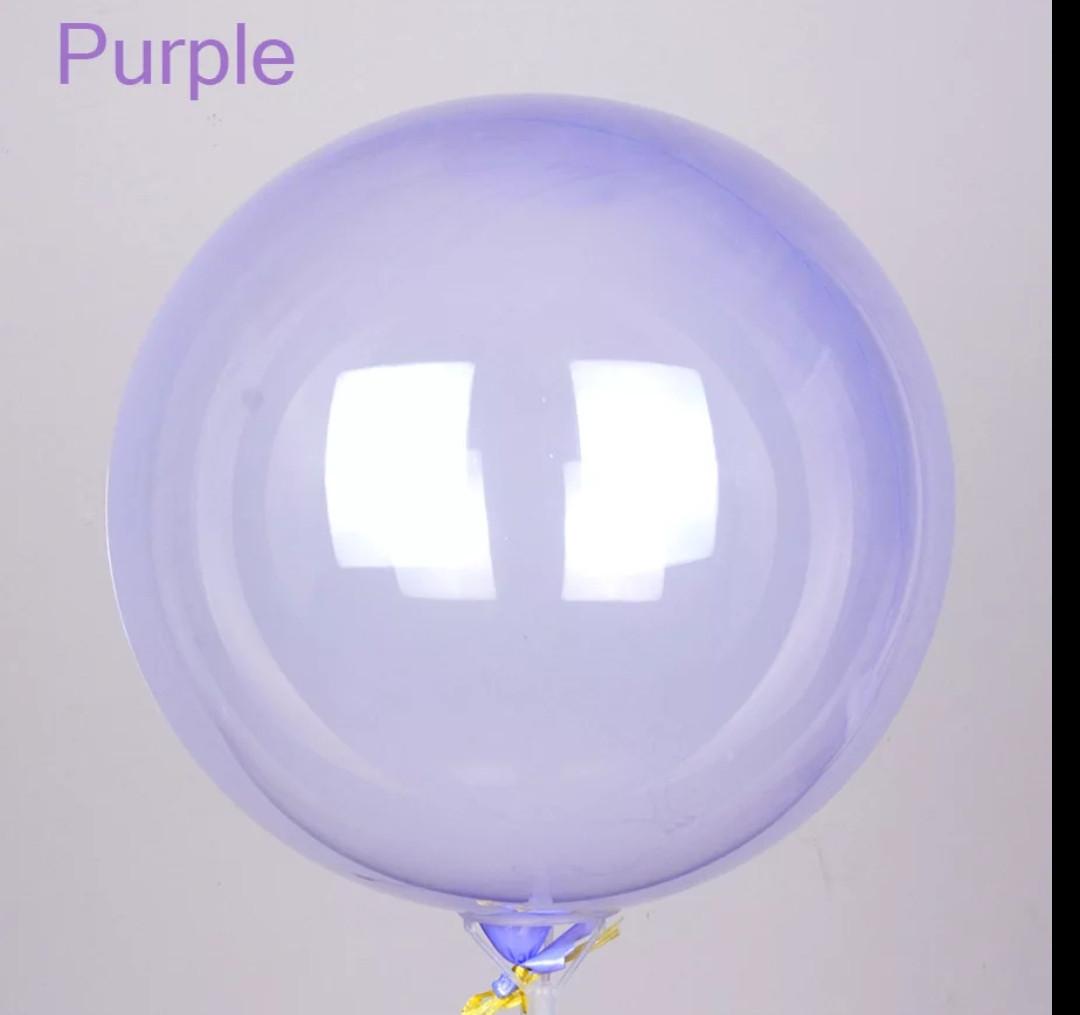 """Шары воздушные прозрачные bubbles (баблс) Фиолетовый 18""""/ 45см.Crystal Clearz Пузырьковый шар"""