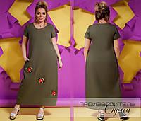 Длинное платье Батал Цветочек, фото 1
