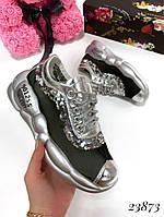 Кроссовки женские на дутой подошве серебро23873, фото 1