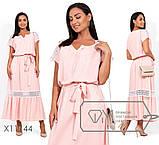 Платье-макси из льна с резинкой по талии и кружевной отделкой по плечам и юбке р.48,50,52, фото 3