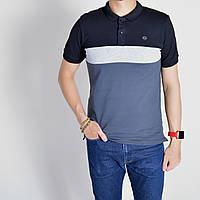 Размеры: 46/48/50/52/54/56. Мужская футболка Поло, премиум качество, 100% хлопок - серая с черным