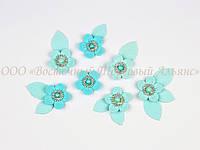 Квіти з перлинами - Блакитні - 7 штук