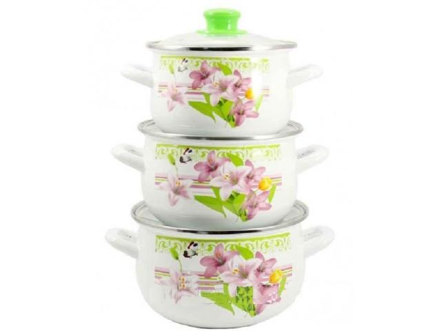 """Набор посуды эмалированной Interos """"Рожева лилия"""" 21/L * 40871"""