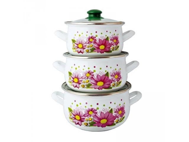 """Набор посуды эмалированной Interos """"Хризантемы"""" 2400 * 36367"""