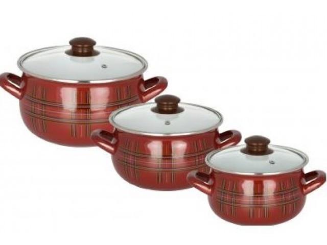"""Набор посуды эмалированной Interos """"Шотландка"""" 2997 * 37648"""
