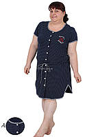 Женский халат больших размеров синего цвета в горошек 2XL короткий рукав