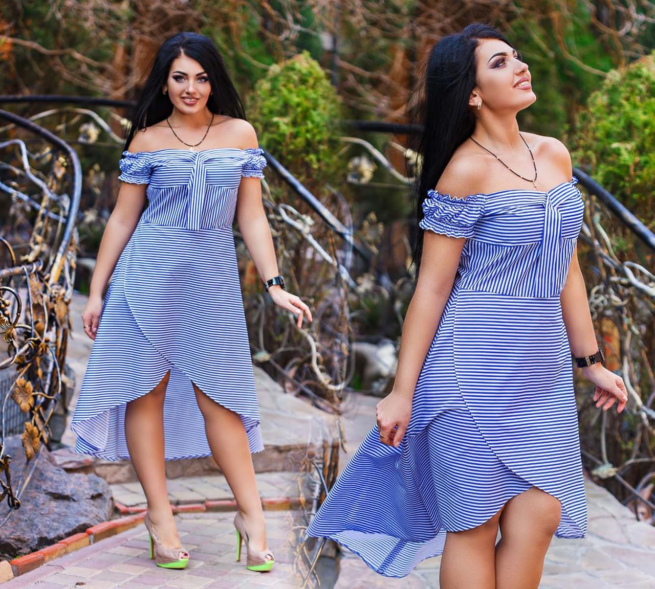 """Стильне літнє жіноче плаття у великих розмірах """"Коттон Смужка Запах"""" (DG-ат 1131)"""