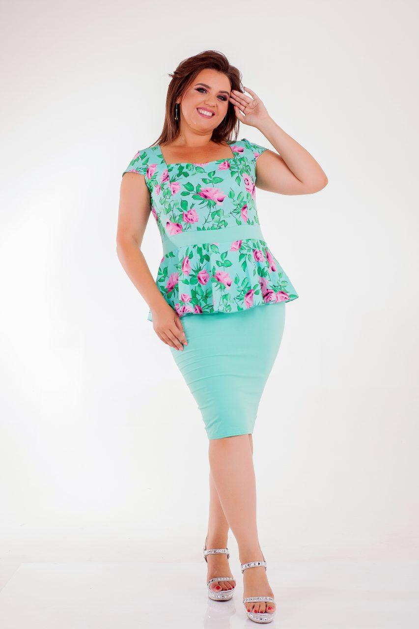 Мятное летнее платье Баска 8171