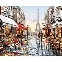 "Картина по номерам, картина-раскраска""Париж после дождя""  40Х50см VP443"