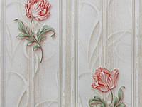 Обои на стену, цветы, светлый, бежевый, пионы, бумажные, B26,4 Самоцвет 6438-01, 0,53*10м