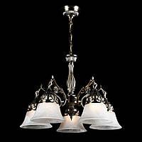 Классическая люстра со стеклянными плафонами на 5 лампочек СветМира (античная бронза) VL-90444/5