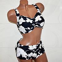 Большой 64 размер купальник раздельный женский, черный с белыми сверкающими цветами 9XL