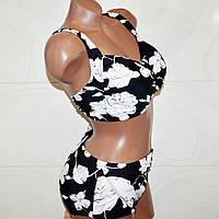 Большой 60 размер красивый женский купальник, черный, раздельный, 7XL