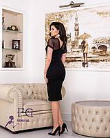 Черное облегающее платье с вставкой из сетки