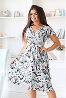 Женское удлиненное платье с цветочным принтом, бирюзовое. Размеры 48, 50, 52