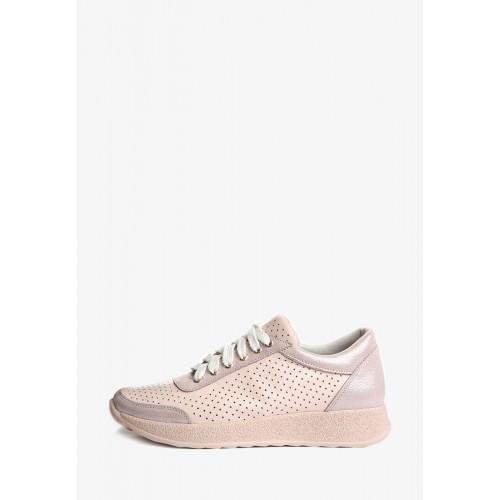 Стильные кроссовки пудрового цвета с перфорацией