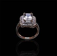Золотое кольцо с цитрином и бриллиантами Гелеос-8 размер 17.5 С18Л18, КОД: 957826