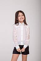 Нарядная блузка для девочек с гипюровыми рукавами