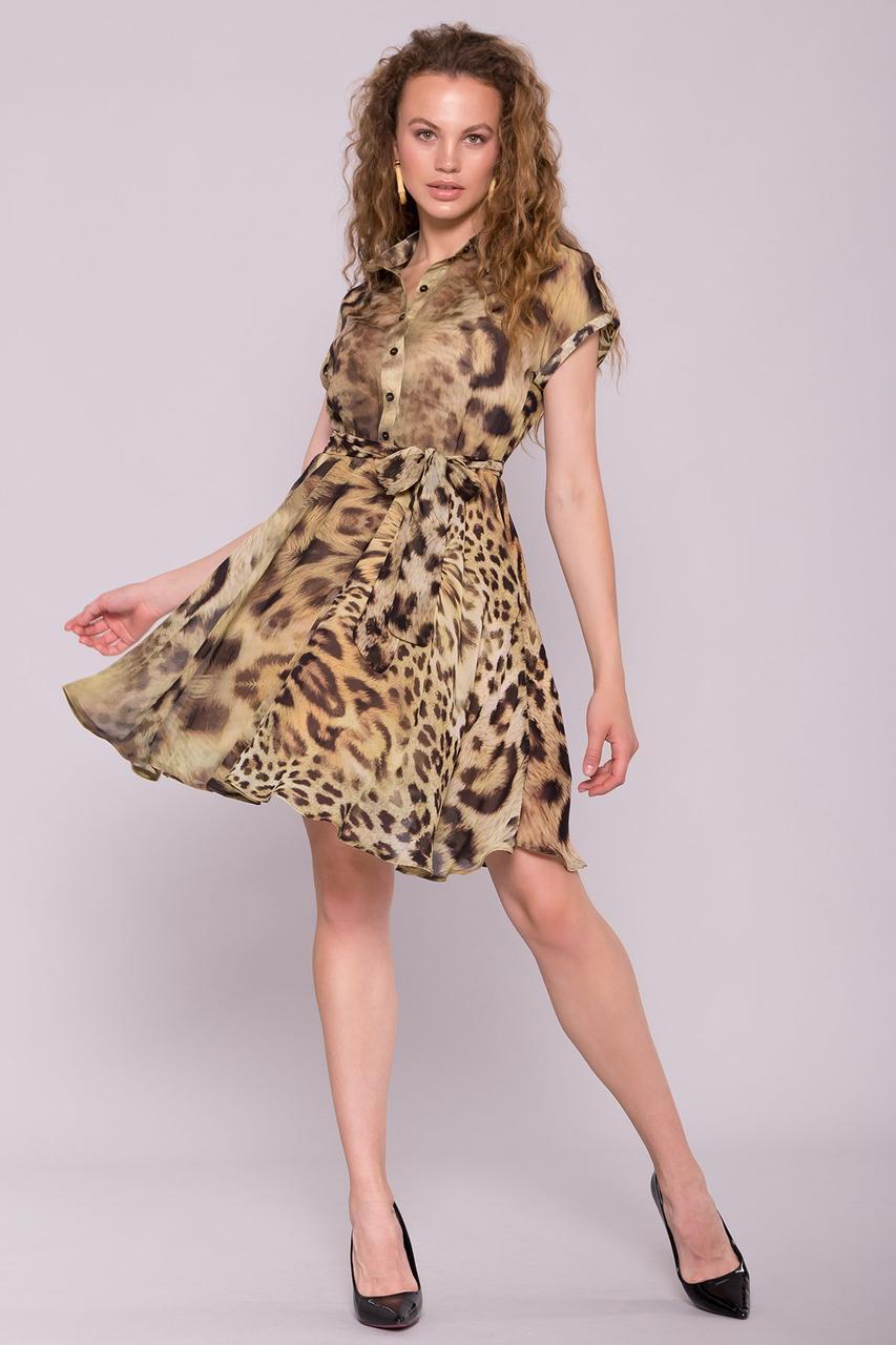 Летнее шифоновое платье Санжи-1 с леопардовым принтом