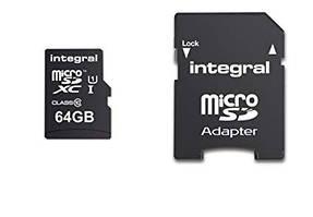 Карта памяти Integral MicroSDHC / XC class 10 UHS-I U1 64Gb