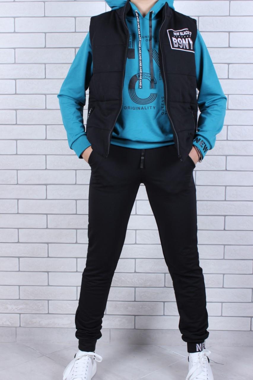 Спортивный костюм с желеткой для девочки  р. 134-164 опт
