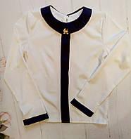 Детская школьная блуза  с планкой р. 128-152 белый+т.синий