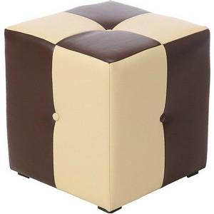 Пуф Рубио-1 (коричнево-бежевый),пуфик,пуфики,пуф кожзам,пуф экокожа,банкетка,банкетки,пуф куб,пуф фо