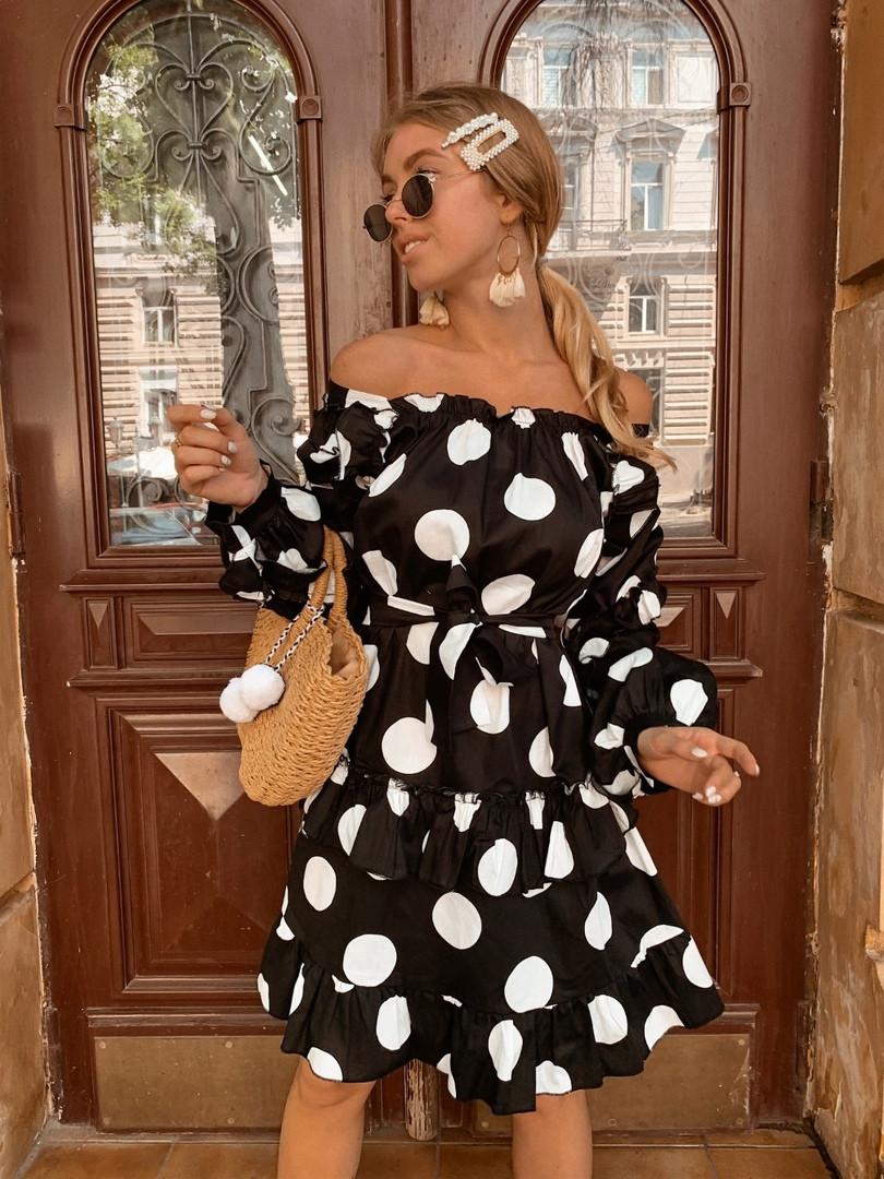 Женское платье в крупный горошек р SМLXL