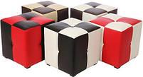Пуф Рубио-1 (красно-черный),пуфик,пуфики,пуф кожзам,пуф экокожа,банкетка,банкетки,пуф куб,пуф фото, фото 2