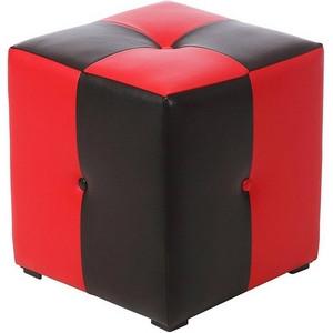 Пуф Рубио-1 (красно-черный),пуфик,пуфики,пуф кожзам,пуф экокожа,банкетка,банкетки,пуф куб,пуф фото