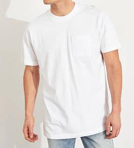 Фирменная хлопковая белая футболка Hollister Oversized Pocket 324-368-0597-100