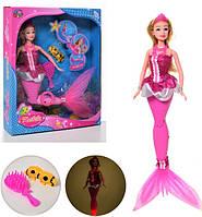 Кукла, русалка 37см, хвост-св, расческа, морские обитатели, бат(таб), в кор-ке