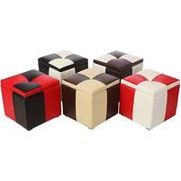 Пуф Рубио-2 с ящиком (коричнево-белый),пуфик,пуфики,пуф кожзам,пуф экокожа,банкетка,банкетки,пуф куб, фото 3