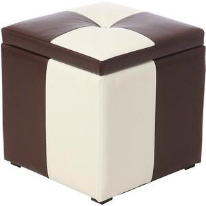 Пуф Рубио-2 с ящиком (коричнево-белый),пуфик,пуфики,пуф кожзам,пуф экокожа,банкетка,банкетки,пуф куб