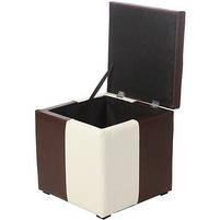 Пуф Рубио-2 с ящиком (коричнево-белый),пуфик,пуфики,пуф кожзам,пуф экокожа,банкетка,банкетки,пуф куб, фото 2