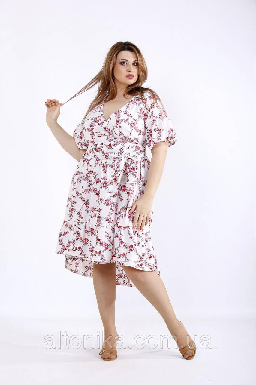 Красивое женское летнее платье с цветами  / 42-74
